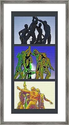 Oil Riggers Triptych Framed Print by Steve Ohlsen