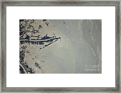 Oil Slick, Mississippi River Delta Framed Print by NASA/Science Source