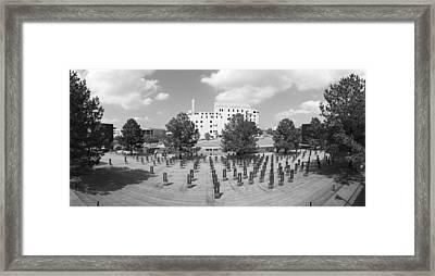 Oklahoma City National Memorial Black And White Framed Print by Ricky Barnard