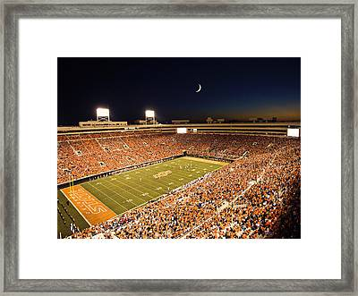 Oklahoma State Boone Pickens Stadium Under The Lights Framed Print by Oklahoma State University