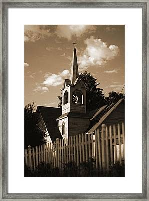 Ol' Church On The Hill Framed Print