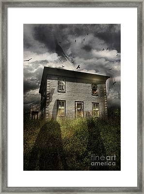 Old Ababdoned House With Flying Ghosts Framed Print by Sandra Cunningham