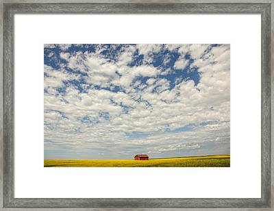 Old Abandoned Red Barn In The Midst Framed Print by Robert Postma