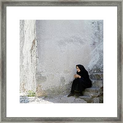 Old Age Woman Sitting Framed Print