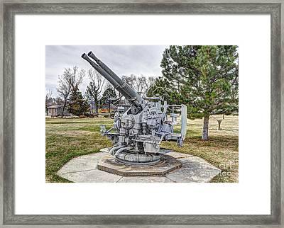 Old Anti-aircraft Gun At City Park Framed Print by Gary Whitton
