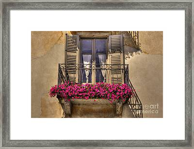 Old Balcony With Red Flowers Framed Print by Mats Silvan