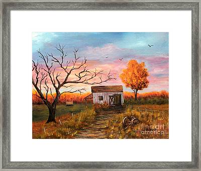 Old Barn Painting At Sunset Framed Print by Judy Filarecki