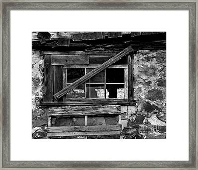 Old Barn Window Framed Print by Perry Webster
