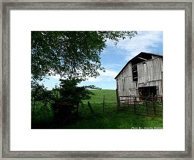 Old Barn With Beautiful Sky Framed Print by Timothy Hudson