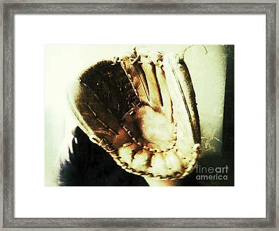 Old Baseball Glove Framed Print by Ruby Hummersmith