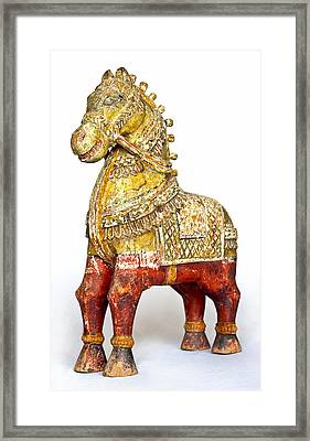 Old Battered Crafted Wooden Horse Framed Print