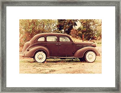 Old Black Plymouth Car For Sale . 7d8836 Framed Print by Wingsdomain Art and Photography