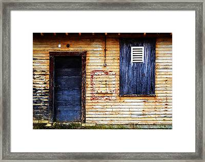 Old Blue Doors Framed Print