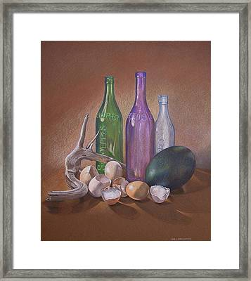 Old Bottles Egg Shells And Driftwood  Framed Print by Jan Lawnikanis