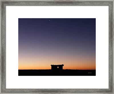 Old Cabin Sunrise Framed Print by Leland D Howard