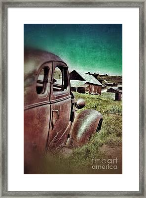 Old Car And Ghost Town Framed Print by Jill Battaglia