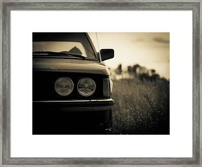 Old Car In Field Framed Print by Maximilian Zimmermann, Germany