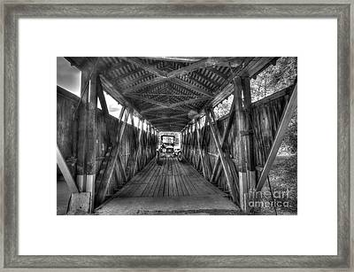 Old Car On Covered Bridge Framed Print by Dan Friend