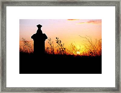 Framed Print featuring the photograph Old Cemetary In A Farm Field by Kimberleigh Ladd