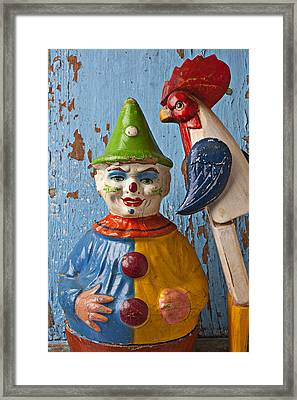 Old Clown And Roster Framed Print by Garry Gay