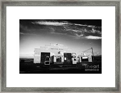 old disused irish country petrol service station Enniscrone county sligo republic of ireland Framed Print