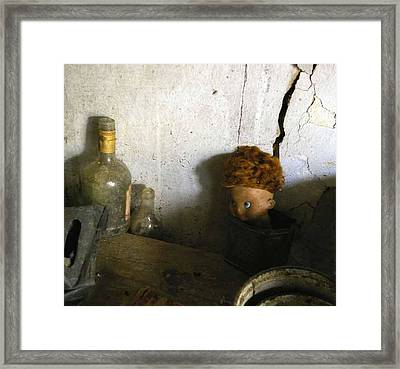 Old Doll In The Attic Framed Print by Draia Coralia