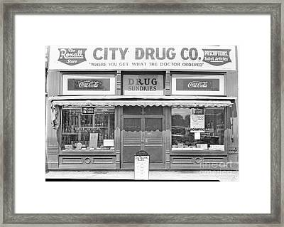 Old Drug Store Circa 1930 Framed Print