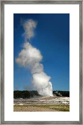 Old Faithful Eruption Framed Print by Gregory Dyer