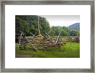 Old Farm Machinery And Split Rail Fence On A Farm In The Smokey Mountains Framed Print