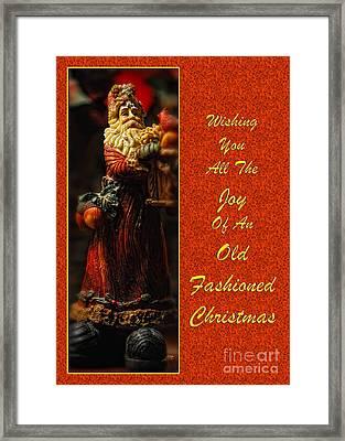 Old Fashioned Santa Christmas Card Framed Print by Lois Bryan