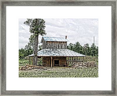 Old Fashioned Tobacco Barn Framed Print by Dwayne  Graham