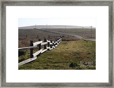Old Fence And Landscape Along Sir Francis Drake Boulevard At Point Reyes California . 7d9897 Framed Print by Wingsdomain Art and Photography
