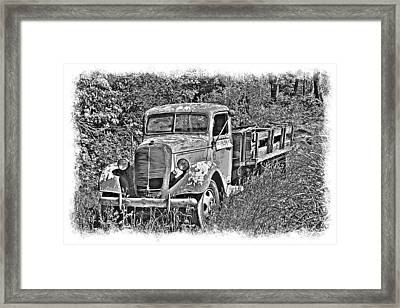 Old Ford Flatbed Bw Framed Print