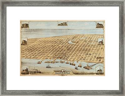 Old Galveston Map Framed Print by Roberto Prusso