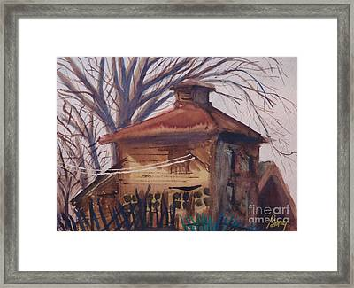 Framed Print featuring the painting Old Garage by Rod Ismay