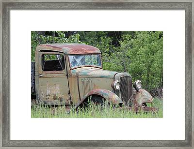 Abandoned Truck In Field Framed Print by Athena Mckinzie