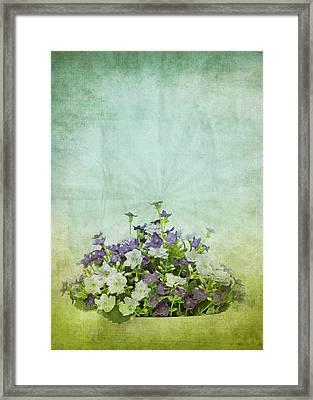 Old Grunge Paper Flowers Pattern Framed Print