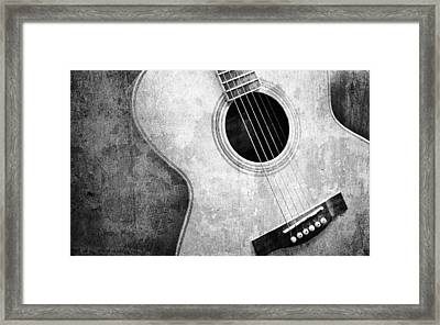 Old Guitar Black And White Framed Print by Nattapon Wongwean