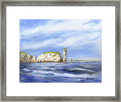 Framed Print featuring the painting Old Harry Rocks by Jo Appleby