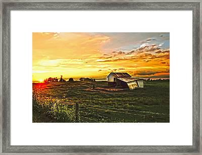 Old Horse Shed At Sundown Framed Print by Randall Branham