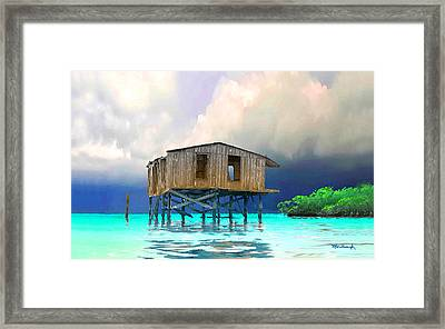 Old House Near The Storm Filtered Framed Print