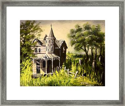 Old House With  Cemetery Framed Print by Khatuna Buzzell