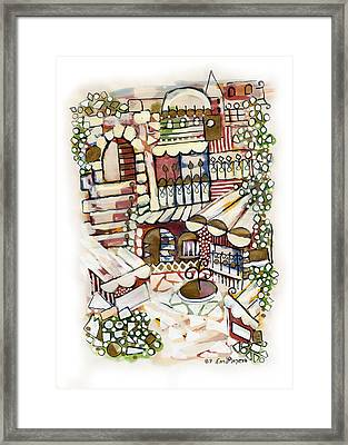Old Jerusalem Courtyard Modern Artwork In Red White Green And Blue With Rooftops Fences Flowers Framed Print by Rachel Hershkovitz
