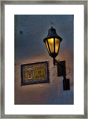 Old Lamp On A Colonial Building In Old Cartagena Colombia Framed Print