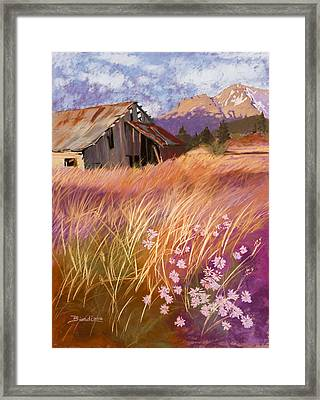 Old Land Trust Barn Mount Shasta Framed Print by Janet Biondi