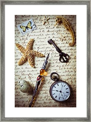 Old Letter With Pen And Starfish Framed Print by Garry Gay