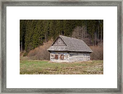 Framed Print featuring the photograph Old Log House by Les Palenik