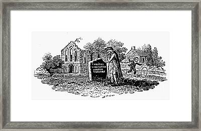 Old Man At Tombstone Framed Print by Granger