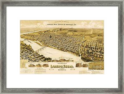 Old Map Laredo Texas Framed Print by Pg Reproductions