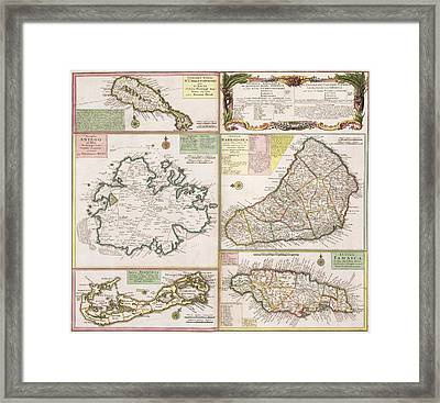 Old Map Of English Colonies In The Caribbean Framed Print